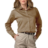 Women's Long Sleeve Teflon Treated Twill Shirt Tan Thumbnail