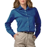 Women's Long Sleeve Teflon Treated Twill Shirt Turquoise Thumbnail