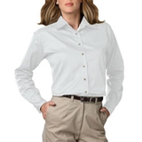 Women's Long Sleeve Teflon Treated Twill Shirt White Thumbnail