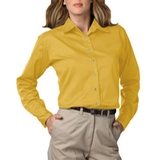 Women's Long Sleeve Teflon Treated Twill Shirt Yellow Thumbnail