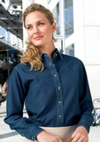 Women's Long Sleeve Value Denim Shirt Ink Blue Thumbnail