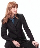 Women's Poly / Wool Pinstripe Suit Coat Navy Thumbnail