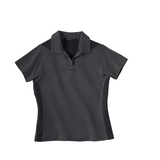 Women's Polyester And Bamboo Two-tone Jacquard Polo Shirt Black Silk Thumbnail