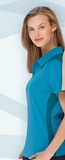 Women's Polyester And Bamboo Two-tone Jacquard Polo Shirt Blue Turquoise Thumbnail