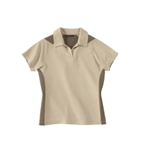 Women's Polyester And Bamboo Two-tone Jacquard Polo Shirt Oyster Thumbnail
