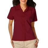Women's Poplin Camp Shirt Burgundy Thumbnail