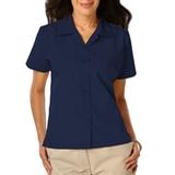Women's Poplin Camp Shirt Navy Thumbnail