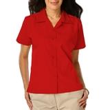 Women's Poplin Camp Shirt Red Thumbnail