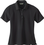 Women's Recycled Polyester Performance Waffle Polo Shirt Black Thumbnail