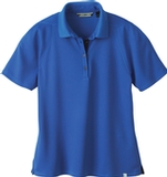Women's Recycled Polyester Performance Waffle Polo Shirt Nautical Blue Thumbnail