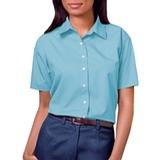 Women's Short Sleeve Easy Care Poplin Shirt Aqua Thumbnail