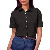Women's Short Sleeve Easy Care Poplin Shirt Black Thumbnail