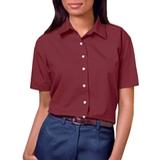 Women's Short Sleeve Easy Care Poplin Shirt Burgundy Thumbnail
