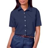 Women's Short Sleeve Easy Care Poplin Shirt Navy Thumbnail