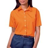 Women's Short Sleeve Easy Care Poplin Shirt Orange Thumbnail