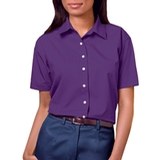 Women's Short Sleeve Easy Care Poplin Shirt Purple Thumbnail