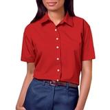 Women's Short Sleeve Easy Care Poplin Shirt Red Thumbnail