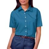 Women's Short Sleeve Easy Care Poplin Shirt Turquoise Thumbnail