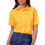 Women's Short Sleeve Easy Care Poplin Shirt Yellow Thumbnail