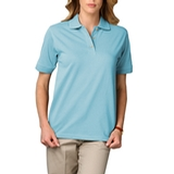 Women's Short Sleeve Pique Polo Shirt Aqua Thumbnail