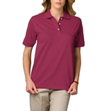 Women's Short Sleeve Pique Polo Shirt Berry Thumbnail