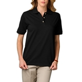 Women's Short Sleeve Pique Polo Shirt Black Thumbnail