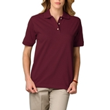 Women's Short Sleeve Pique Polo Shirt Burgundy Thumbnail