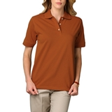 Women's Short Sleeve Pique Polo Shirt Burnt Orange Thumbnail