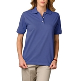 Women's Short Sleeve Pique Polo Shirt French Blue Thumbnail