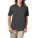 Women's Short Sleeve Pique Polo Shirt Graphite Thumbnail
