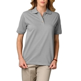 Women's Short Sleeve Pique Polo Shirt Grey Thumbnail