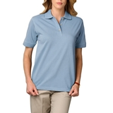 Women's Short Sleeve Pique Polo Shirt Light Blue Thumbnail