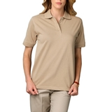 Women's Short Sleeve Pique Polo Shirt Natural Thumbnail