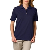 Women's Short Sleeve Pique Polo Shirt Navy Thumbnail