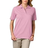 Women's Short Sleeve Pique Polo Shirt Pink Thumbnail