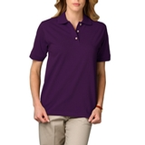 Women's Short Sleeve Pique Polo Shirt Purple Thumbnail