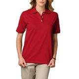 Women's Short Sleeve Pique Polo Shirt Red Thumbnail