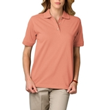 Women's Short Sleeve Pique Polo Shirt Salmon Thumbnail