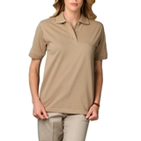 Women's Short Sleeve Pique Polo Shirt Tan Thumbnail