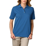 Women's Short Sleeve Pique Polo Shirt Turquoise Thumbnail