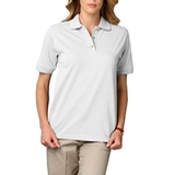 Women's Short Sleeve Pique Polo Shirt White Thumbnail
