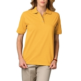 Women's Short Sleeve Pique Polo Shirt Yellow Thumbnail