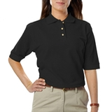 Women's Short Sleeve Teflon Treated Pique Polos Black Thumbnail