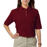 Women's Short Sleeve Teflon Treated Pique Polos Burgundy Thumbnail