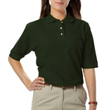 Women's Short Sleeve Teflon Treated Pique Polos Hunter Thumbnail