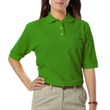 Women's Short Sleeve Teflon Treated Pique Polos Kelly Thumbnail