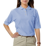 Women's Short Sleeve Teflon Treated Pique Polos Light Blue Thumbnail