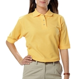 Women's Short Sleeve Teflon Treated Pique Polos Maize Thumbnail