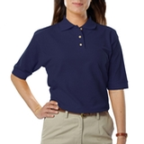 Women's Short Sleeve Teflon Treated Pique Polos Navy Thumbnail