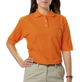 Women's Short Sleeve Teflon Treated Pique Polos Orange Thumbnail